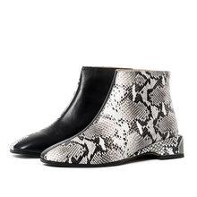 WETKISS Snake Huid Laarzen Vrouwen Lage Hakken Booties Vierkante Teen Schoenen Vrouwelijke Casual Schoenen Dames Koe Lederen Schoenen Herfst 2019 nieuwe(China)