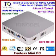 Kingdel Newest Fanless Mini Desktop PC Intel Celeron N3150 Braswell Windows 10 HTPC 4GB RAM mSATA3.0 SSD(China (Mainland))