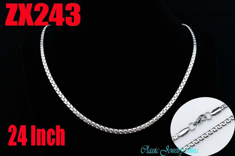 Wholesale - 24Inch 316L stainless steel 3.2mm flat box chain Jewelry man male necklace chains ZX197<br><br>Aliexpress
