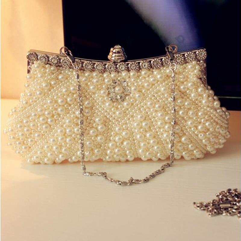 Wedding Bridal Clutches Handbags Crystal Pearls Shoulder Bags With Chains Ladies Outdoor Dating Accesories hb271(China (Mainland))