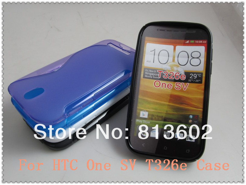 One SV Back Cover . S Wave Line Style Curve Back Gel Soft Skin cover Shell For HTC One SV t326e Via Free DHL ,High quality(China (Mainland))
