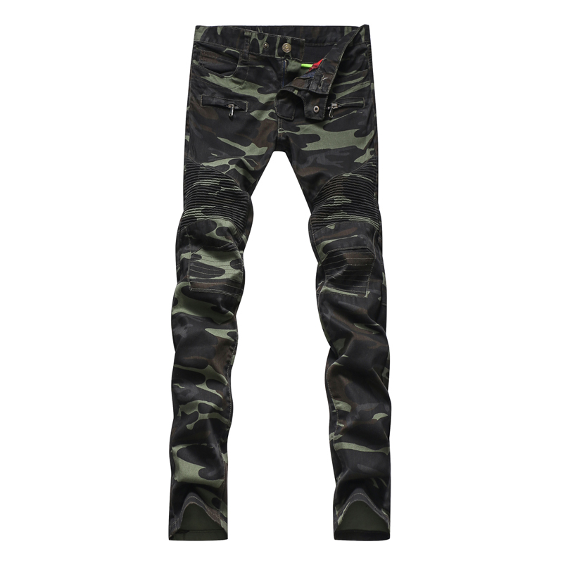 Men's fashion camouflage military style army green biker jeans Male casual patchwork skinny denim pants Long trousers - Ginzo Jeans' Store store