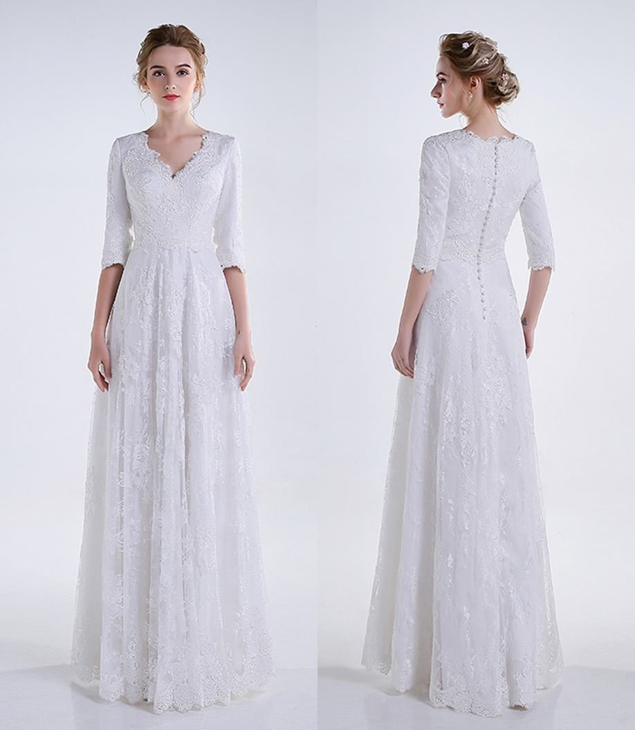 Real 2016 white long a line lace modest wedding dresses for Modest a line wedding dresses
