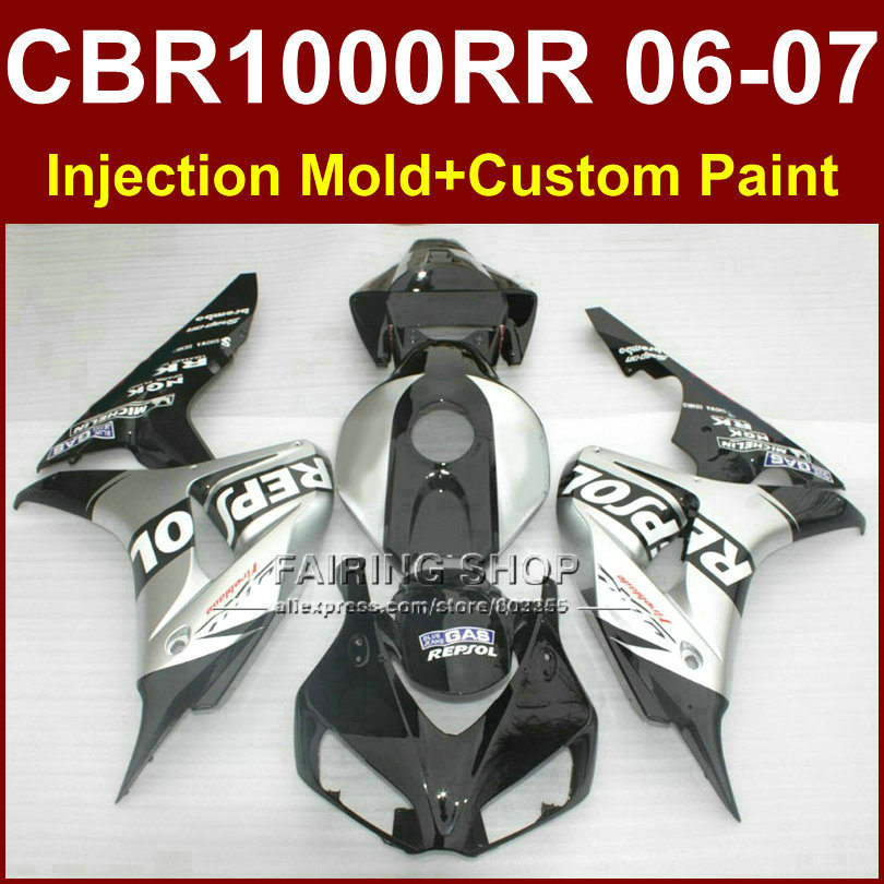 New body parts for HONDA Motorcycle fairing cbr1000rr Repsol silver CBR1000RR 2006 2007 Injection mold 06 07 CBR1000RR bodykit(China (Mainland))