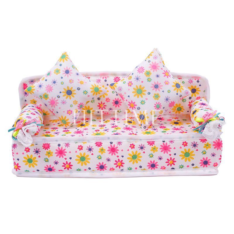 Mini Dollhouse Furniture Flower Sofa Couch +2 Cushions Doll House Toys #57691(China (Mainland))