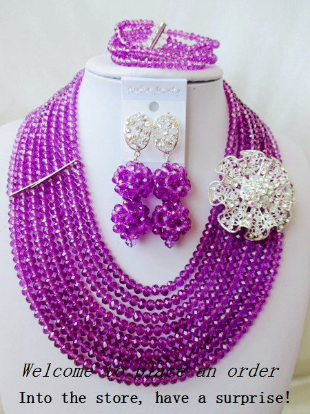 2015 Fashion african Purple crystal beads necklace set nigerian wedding african beads jewelsry et Free shipping P-2621<br><br>Aliexpress