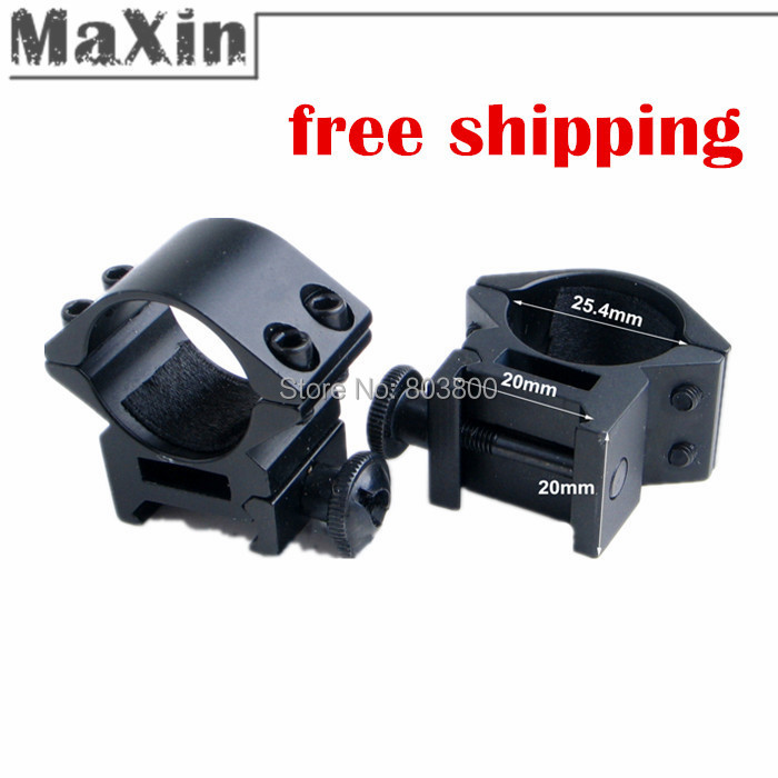 "Гаджет  Free shipping 2pcs/lot  25mm 1 Inch 1"" Ring Weaver Scope torch Rail Mount 20mm picatinny for flashlight rifle scope None Спорт и развлечения"