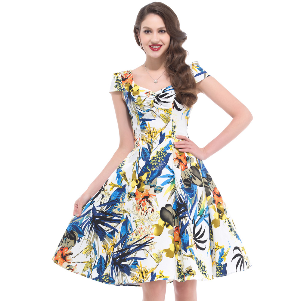 Summer Dresses Casual Dress 1950s Robe Vintage Belle Poque Cotton Short Sleeve Swing Pin Up Retro Floral Printed Women Clothing(China (Mainland))