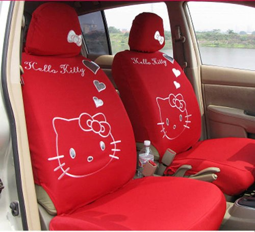 The new 10pcs -Hello Kitty Universal Heart Car Seat Covers, rear seat covers(RED) More color optional seat covers(China (Mainland))