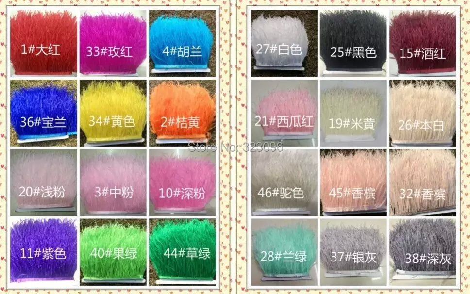 Free Shipping 10meters/Color Ostrich Feather Ribbons Ostrich Feather Trimming 13-15cm Ostrich Feather Fringe 24 colors Available(China (Mainland))