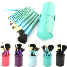 12PCS Makeup Brush Set Cosmetic Brushes Tool Kit with Leather Cup Holder Case Green Light Blue Black  CS0044