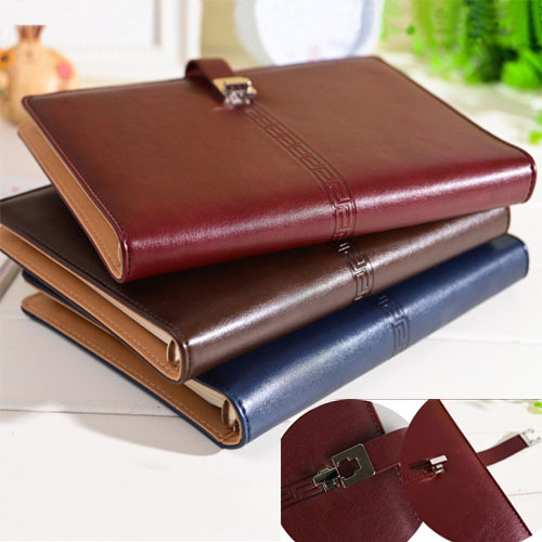 2016 New leather diary notebook lock 6 ring binder spiral A5 agenda planner organizer office stationery - & school supplies online store