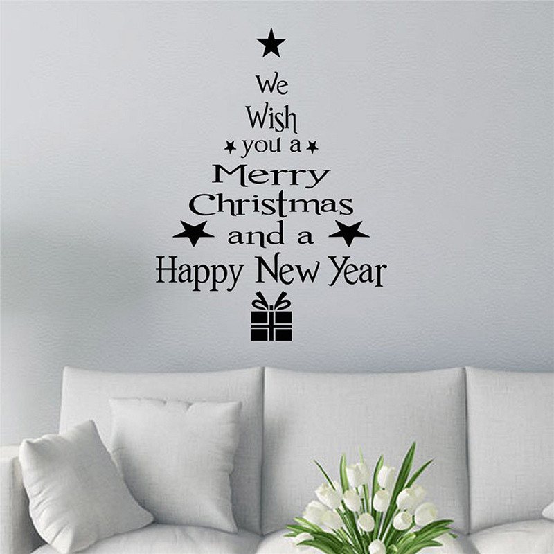 Removable Merry Christmas Tree Wall Stickers Art Vinyl Decal Home Bedroom Living Room Window Decor Gift(China (Mainland))