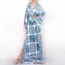 High Quality New Fashion 2017 Runway Boho Beach Dress Women's Long Sleeve Noble Beading Casual Floral Print Maxi Long Dress(China (Mainland))