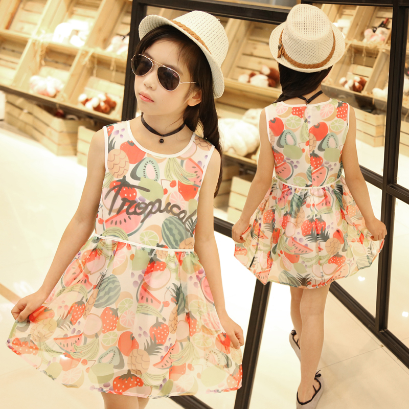 4-13 Years Girl Dress Summer Wear Kids Clothes Print Elegant Dresses Baby Girl Clothes Girl Party Dress(China (Mainland))
