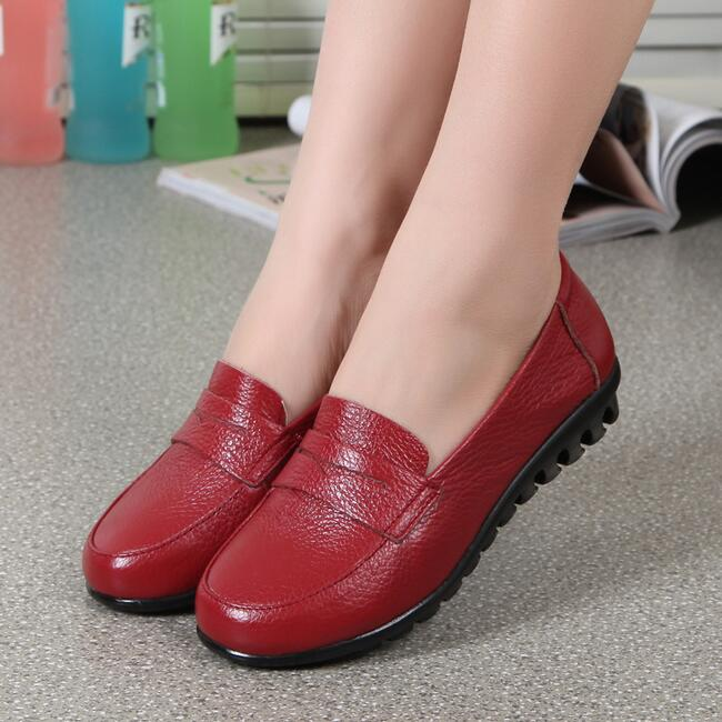 Real Leather Women Casual Shoes Woman Slip Flat Soft Moccasin Comfortable Loafers 2016Spring Mother - China Resources Store store