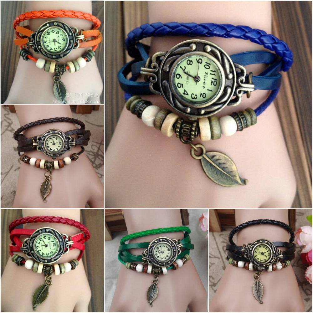 Hot fashion tide pure hand-woven leaves bracelet watch Ms. Leisure bracelet watch(China (Mainland))