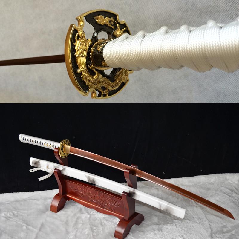 BATTLE REDAY WHITE JAPANESE FULL TANG KATANA 9260 SPRING STEEL SWORD SHARPENED - Japanese Sword Factory & Gift Store store