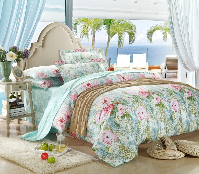 Egyptian cotton luxury mint green paisley bedding set