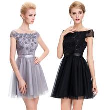 Paillettes lusso abiti da cocktail 2016 sexy vedere attraverso nero/grigio coctail dress abiti coctel breve prom party dress(China (Mainland))