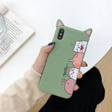 For iPhone 6 6s 7 8 X XR XS MAX Case fashion cute cat 3D ear Case for Apple iPhone 7 Plus Cover soft silicon TPU Phone Case 6S(China)