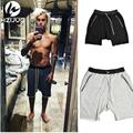 HZIJUE Kanye Justin Bieber Man Shorts Large Pocket Drawstring Harem Shorts Casual Joggers Fashion Men Trousers