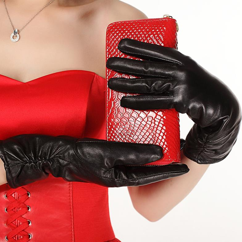Ladies leather gloves sheepskin winter 2013 new Korean fashion casual warm thick velvet glove - ZDFURS factory store