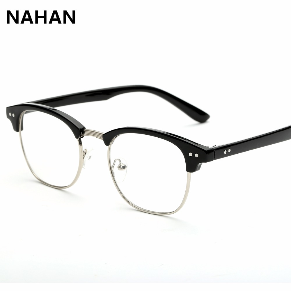 nahan brand eye glasses frames for men women vintage round pc plain mirror transparent computer glasses frames with clear lens