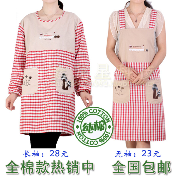 Special long sleeved apron Kitchen Apron dress smock overalls against adult fashion cotton belt sleeve blouse(China (Mainland))