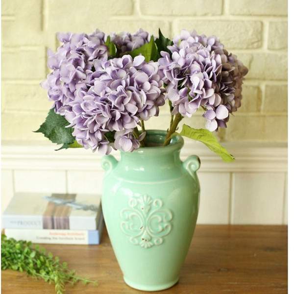 Artificial Hydrangea Rose Silk Peony Flower Room Garden Office Decor Purple