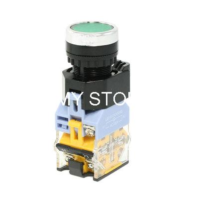 NO NC Green LED Light Momentary Push Button Switch 22mm AC 380V 10A(China (Mainland))