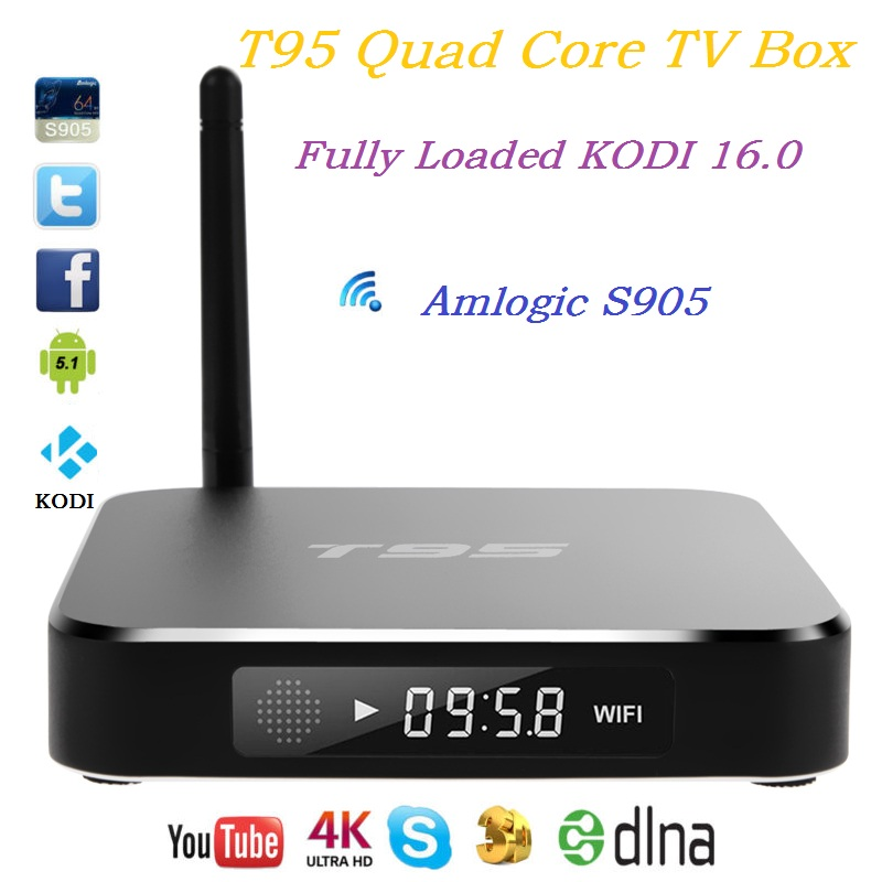 Small discount T95 Android 5.1 TV Box Amlogic S905 Quad Core 2GB / 8GB Metal Case Built in 2.4G 5G WiFi Kodi16.0 media player(China (Mainland))
