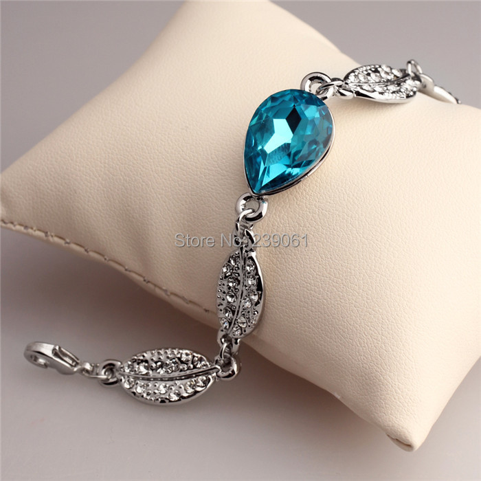 Hot Fashion Great Brand Jewelry Bracelets Bangles Silver Plated Leaf Blue Water Drop Crystal Chaim Chain&Link - Hawaii Arts store