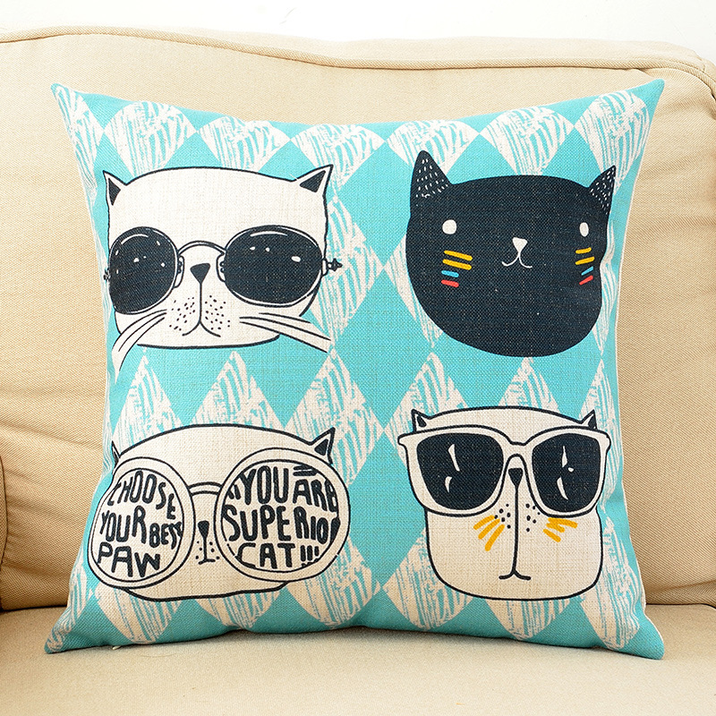 wholesale wedding gift Fashion cat wearing glasses creative cute cartoon decorative cushion cover home sofa decor pillow case