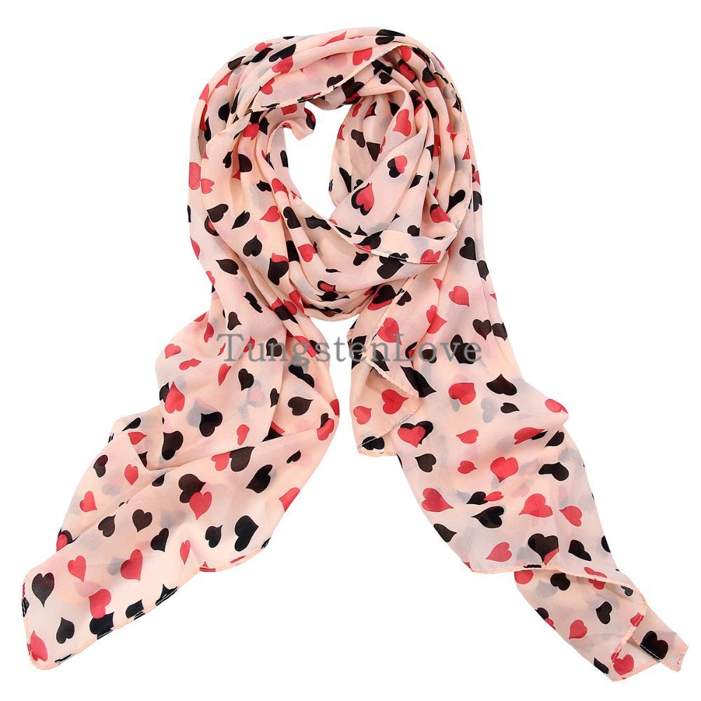 Fashion Black Pink Heart Print Double Peach Patterns Scarf Shawl Long Chiffon Scarf Tippet for Girls Women 72*180CM(China (Mainland))