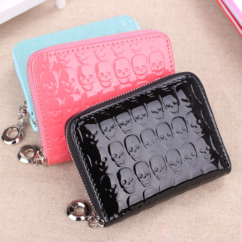 New Women's Synthetic PU Leather Clutch Coin Wallet Skull Kito Short Mini Purs