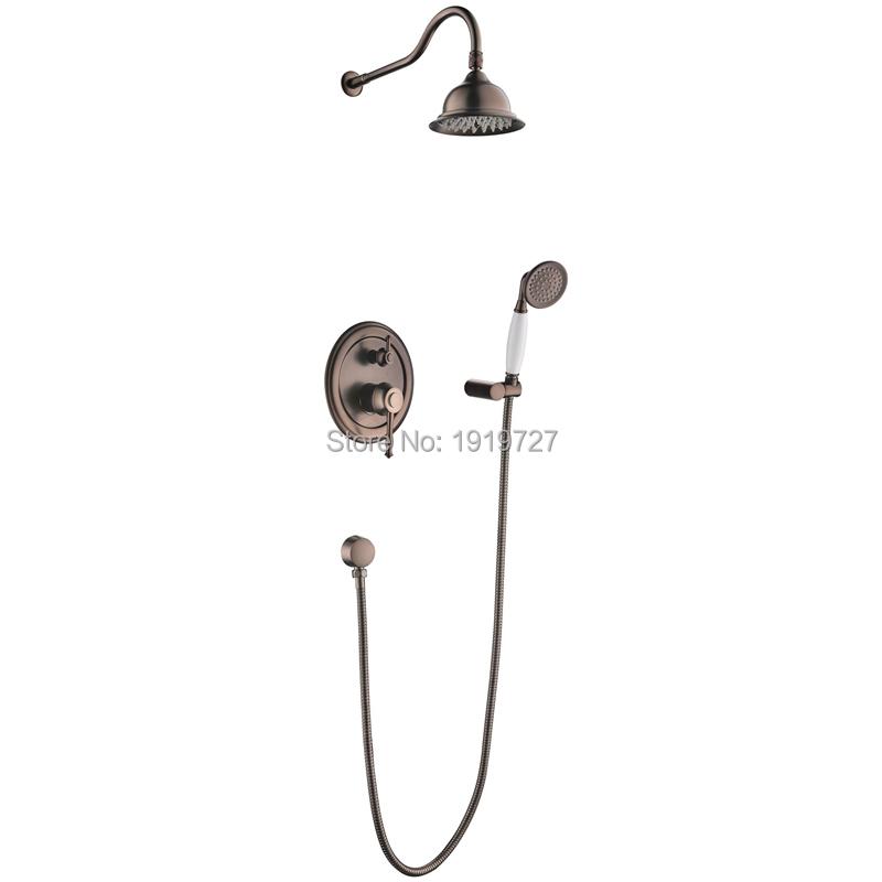 Oil Rubbed Bronze Bath Shower Faucet Set 8″ Rain Shower Head & Hand ...