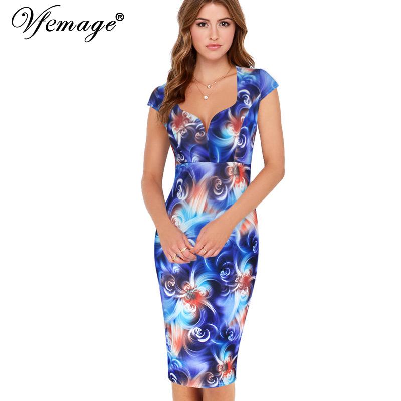 Vfemage Womens Sexy Elegant Cap Sleeve Slim Casual ...