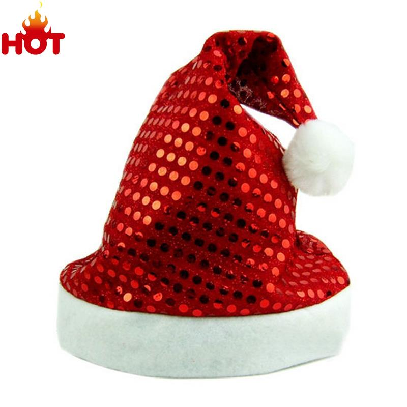 Red Christmas Santa Hat Party Cap Sequined New Year Hats For Santa Claus Costume Christmas Decoration Navidad Caps Festival Hat(China (Mainland))