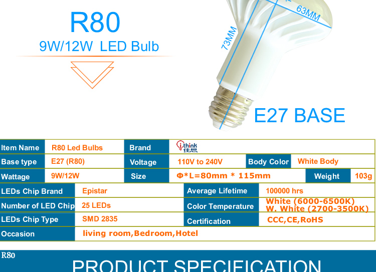 NEW R39 R50 R63 R80 led light E14 E27 led lamp 3W 5W 7W 9W ac 220v 230v 12W 15W 20W R80 R95 R125 led bulbs warm cold white light