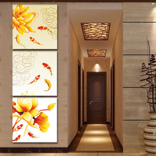 Giveaways wall sticker Framed Canvas Art Koi Fish Lotus Goldand Chinese Oil Painting Feng Shui Wall Pictures for Living Room(China (Mainland))