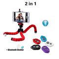 2in1 Flexible Car Phone Holder Tripod With Universal Clip Bluetooth Remote Selfie Holder For iphone Samsung
