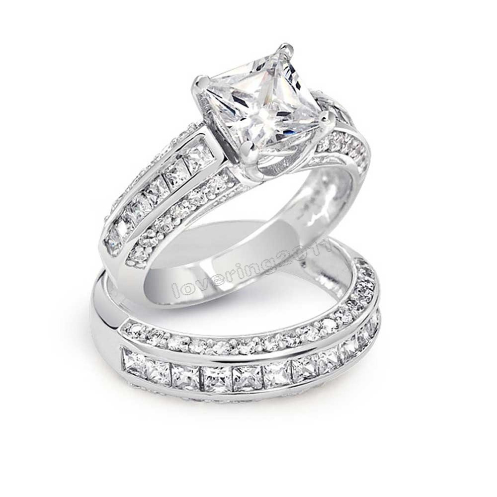 Princess Cut Engagement Rings With Wedding Band Victoria Wieck Princess Cut Topaz Simulated Diamond 10kt