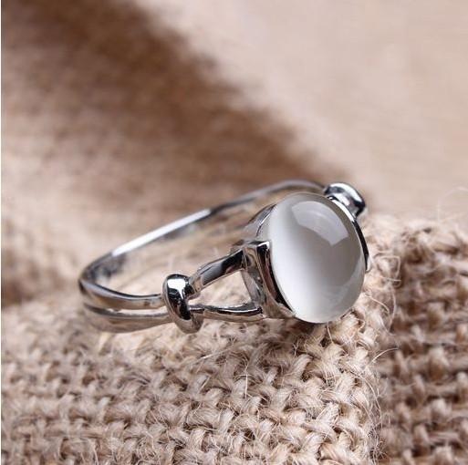 Free Shipping Sz5-10 Twilight Bella's Wedding Ring 10KT White Gold Filled Ring Opal Moonstone Women's Wedding Band Cosplay Film(China (Mainland))