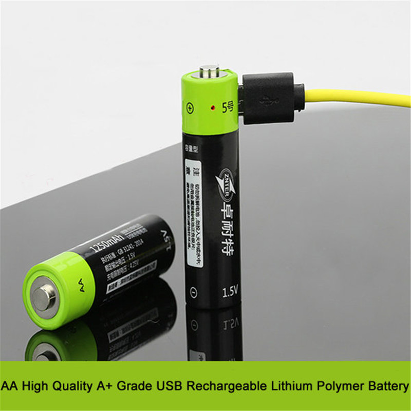 2pcs ZNTER 1.5v 1250mAh AA Li-Po Battery USB Rechargeable AA Li-Po Battery For Rc Transmitter(China (Mainland))