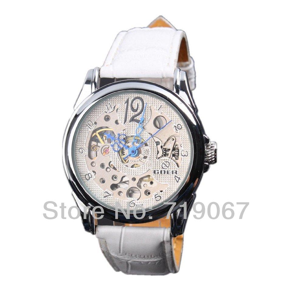 Women Mechanical Watch Lady White Leather White Dial Blue Hand Analog Wrist