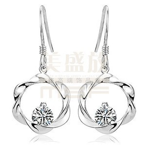 new circle style women`s 925 sterling silver & AAA zircon platinum plated drop earrings - Life in Color Co.,Ltd store