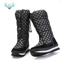 2019 kışlık botlar yüksek kadın kar botları peluş sıcak ayakkabı artı boyutu 35 büyük 42 kolay aşınma kız beyaz zip ayakkabı kadın sıcak botlar(China)