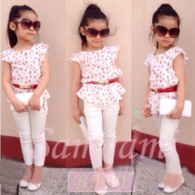 2015 New Fashion Baby Girls Clothing Set Kids Clothes Summer Style Children Toddler Girl