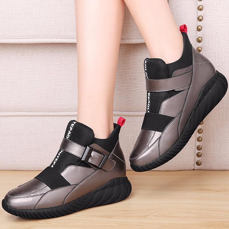 ซื้อ รองเท้าผู้หญิงMOOLECOLEผู้หญิงรองเท้าลำลองหนังPUผู้หญิงรองเท้าระบายอากาศHaaspรองเท้า6d660-3